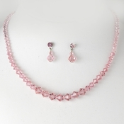 * Pink Crystal Bridal Jewelry Set NE 231