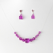 Necklace Earring Set 233 Fuchsia