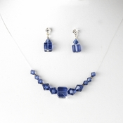 * Navy Illusion Necklace & Earring Set NE 233