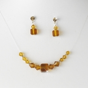 * Tan Crystal Illusion Necklace & Earring Set NE 233