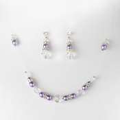 * Purple Clear Illusion Jewlery Set NE 230