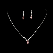 Necklace Earring Set 307 Silver Pink