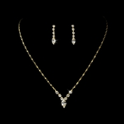 Beautiful Gold Crystal Bridal Jewelry Set NE 307