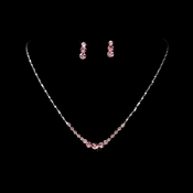 * Necklace Earring Set 305 Silver Pink