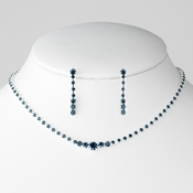 * Necklace Earring Set 337 Silver Navy