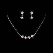 * Silver & Pink Accented Bridal Jewelry Set NE 327