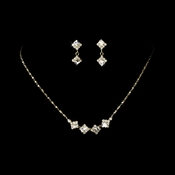 * Necklace Earring Set 327 Gold Clear