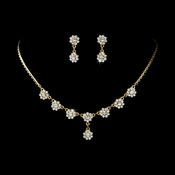 * Necklace Earring Set 331 Gold Clear *Only 3 Left*