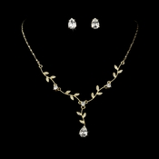 * Gold Clear Stud Floral Bridal Set NE 328 ***1 Left***
