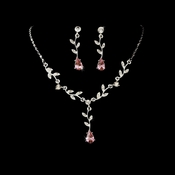 Silver Clear Pink Dangle Floral Bridal Set NE 328