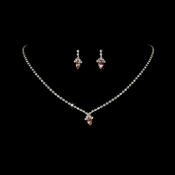 Beautiful Pink Crystal Jewelry Set NE 342