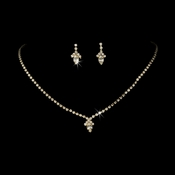 Beautiful Gold Clear Crystal Jewelry Set NE 342