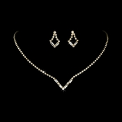 Gold Clear Rhinestone Necklace & Earring Set NE 341