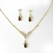 Gold Brown Crystal Drop Jewelry Set NE 344