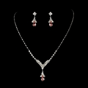 Silver Pink Crystal Drop Jewelry Set NE 344