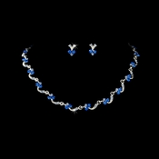 Necklace Earring Set 382 Silver Blue
