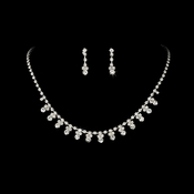 * Silver Clear Accented Necklace & Earring Jewelry Set NE 358