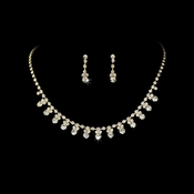 * Gold Clear Accented Necklace & Earring Jewelry Set NE 358