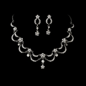 * Victorian Antique Silver Clear Jewelry Set NE 411