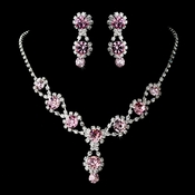 Silver Necklace & Earring Set with Light Rose Crystals and Clear Rhinestones 4362