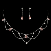 * Silver Pink Necklace & Earring Bridal Jewelry Set NE 8000