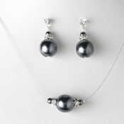 Pearl Necklace Earring Set NE 8369 Grey
