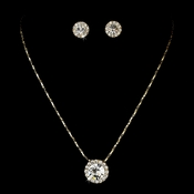Simple Gold Clear Pendant Jewelry Set NE 71576