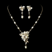 Gold Freshwater Pearl Bridal Jewelry Set NE 8262