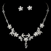 Charming Silver Clear Rhinestone & Crystal Bead Flower Necklace & Earring Set 7205