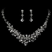 Silver Clear Swarovski Crystal Necklace & Earring Set NE 7602