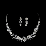 Silver Crystal Floral Jewelry Set NE 7600