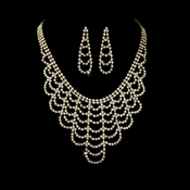 Necklace Earring Set 366 Gold Clear