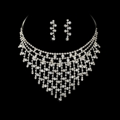 * Exquisite Silver Clear Rhinestone Necklace & Earring Set NE 379