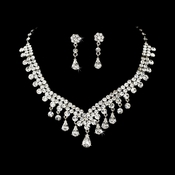 Dazzling Crystal Necklace Earring Set NE 907 Gold Clear