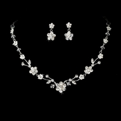 Necklace Earring Set NE 7203 Silver Clear