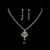 Necklace Earring Set NE 7334 Silver Clear