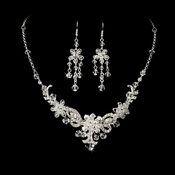 Necklace Earring Set NE 7821 Silver Clear