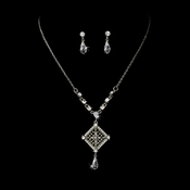 * Charming Antique Silver & Clear Crystal Necklace & Earring Set 995