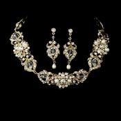 Necklace Earring Set NE 7844 Gold Ivory