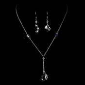 Necklace Earring Set 8124 Silver Clear