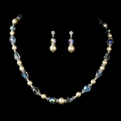 Captivating Silver Ivory Pearl & AB Crystal Bead Necklace & Earring Set 8148