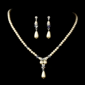 Elegant Silver Ivory Pearl & AB Crystal Necklace & Earring Set 8151