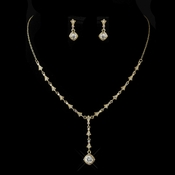Gold Clear Austrian Crystal Necklace & Earrings Bridal Jewelry Set 994