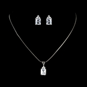 Crystal Cubic Zirconia Princess Pendent Bridal Jewelry N 2446 E 2465