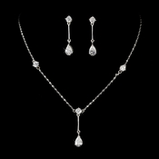 Silver Clear Cubic Zirconia Drop Jewelry Set NE 71778
