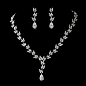 Necklace Earring Set 8170 Silver Clear