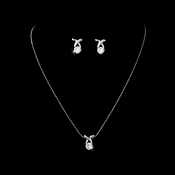 Necklace Earring Set NE 6006 Silver Clear