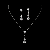 Stunning Silver Clear CZ Necklace & Earring Set