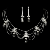 Necklace Earring Set 71682 Silver Clear