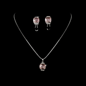 Necklace Earring Set N 6502 E 6504 Silver Pink